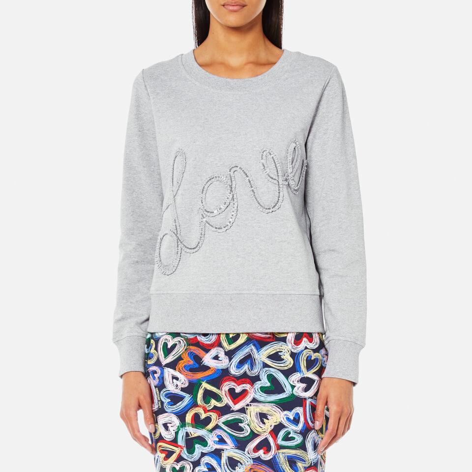 Love Moschino Womens Ruffle Love Logo Sweatshirt Grey It 44/uk 12