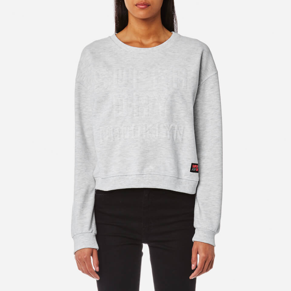 Superdry Womens Metro Corded Crew Sweatshirt Ice Marl L