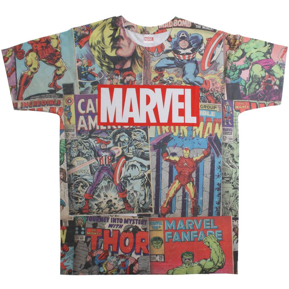 Marvel Men's Retro Comics Sub T Shirt White M