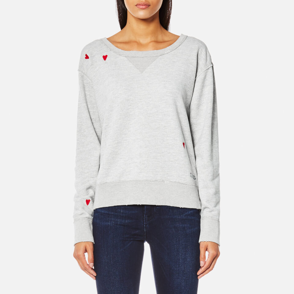 Maison Scotch Womens Loose Fit Heart Sweatshirt Grey Melange Xs