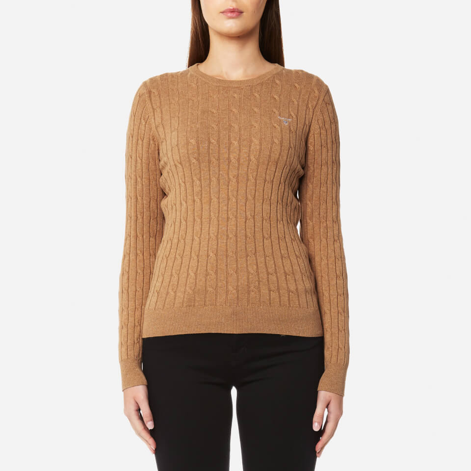 gant-women-stretch-cotton-cable-crew-jumper-camel-melange-m-camel