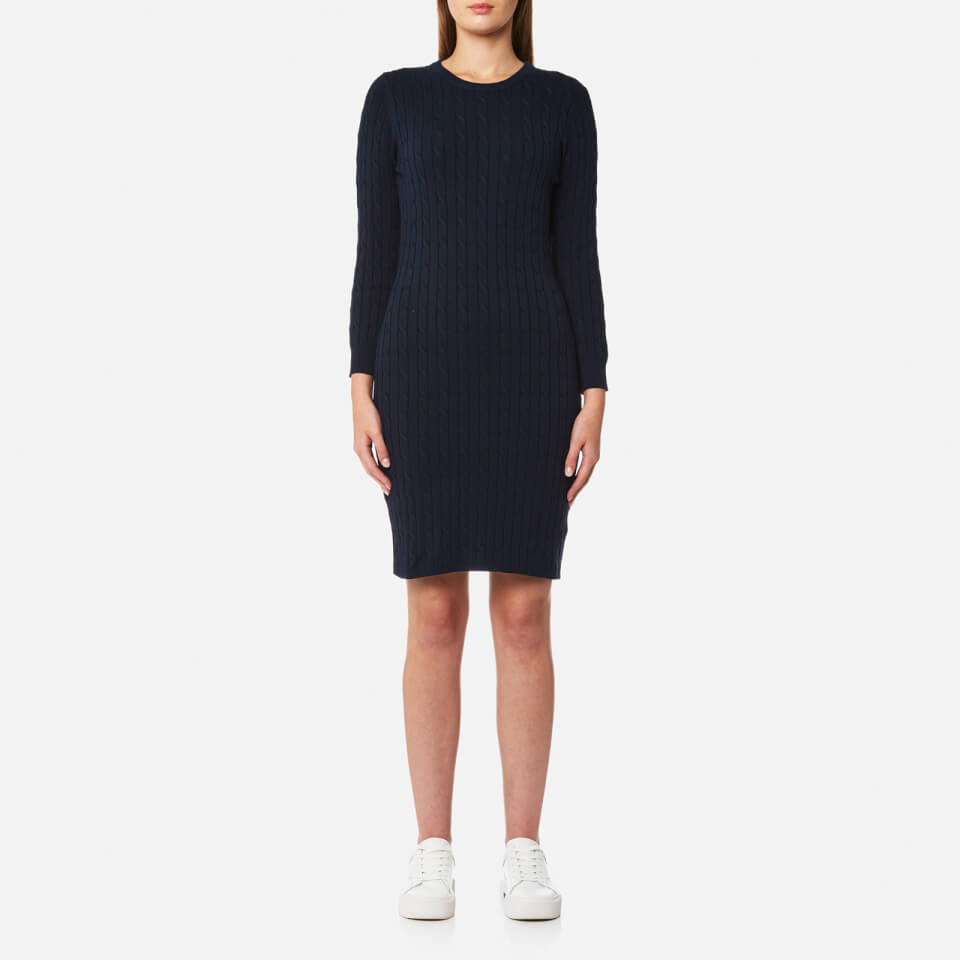 gant-women-stretch-cotton-cable-dress-evening-blue-m-blue