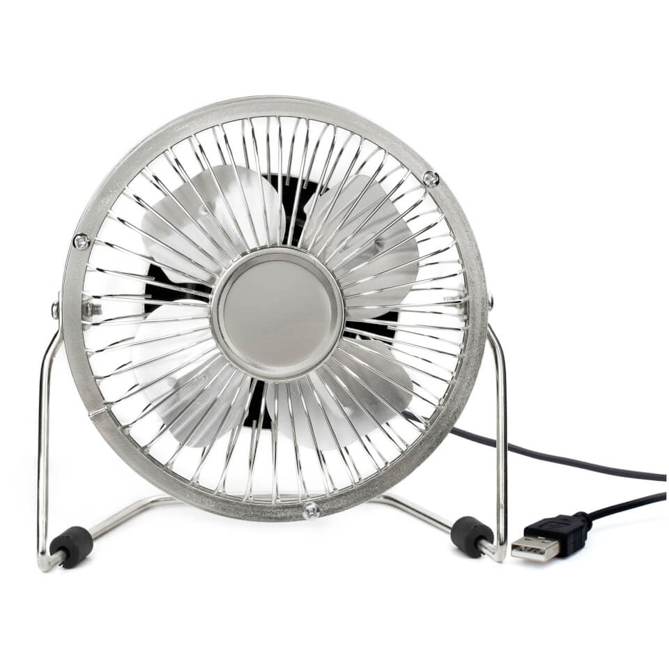 USB Metal Desk Fan Silver