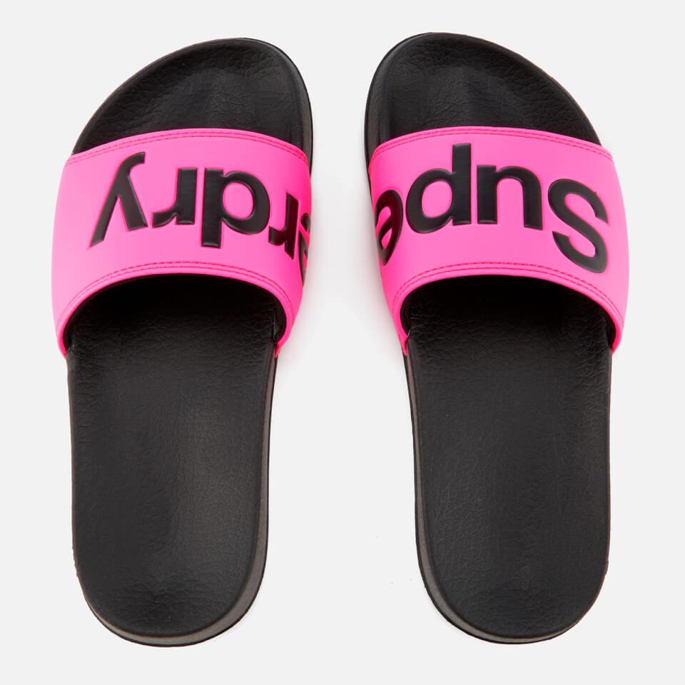 Superdry Women S Pool Slide Sandals Black Fluro Pink