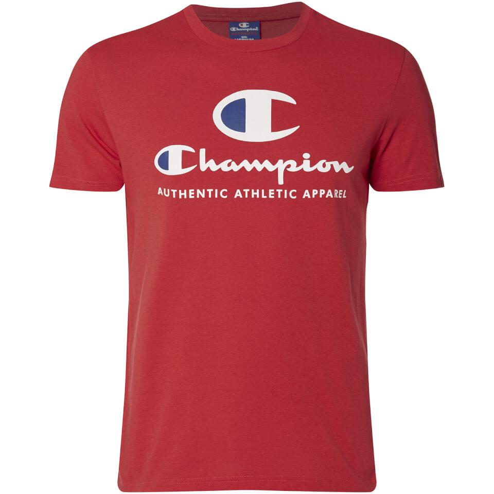 champion men 39 s large logo t shirt red clothing zavvi. Black Bedroom Furniture Sets. Home Design Ideas