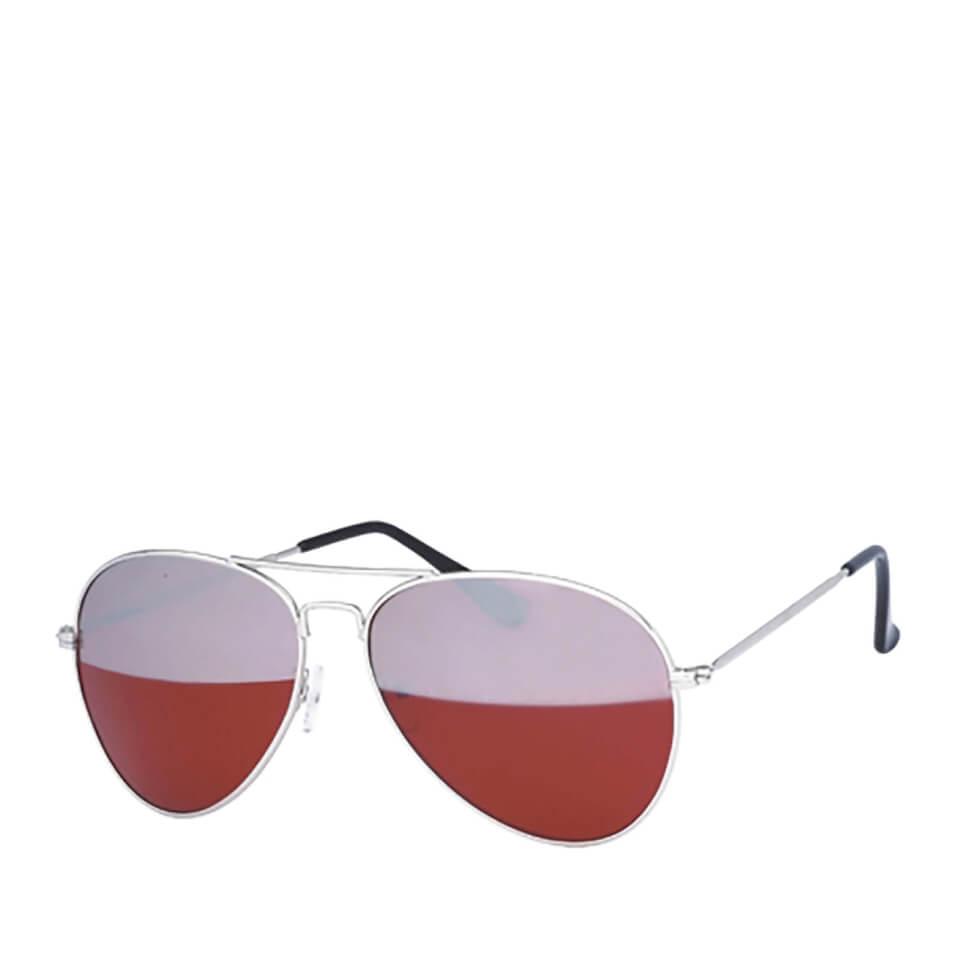 Gafas de sol Aviador Espejo - Hombre - Plateado/rojo