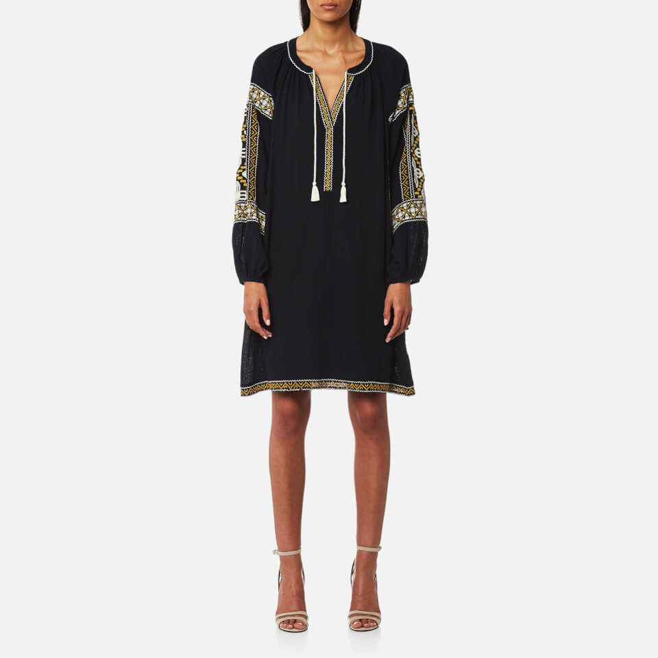 maison-scotch-women-embroidered-boho-dress-night-xs-black