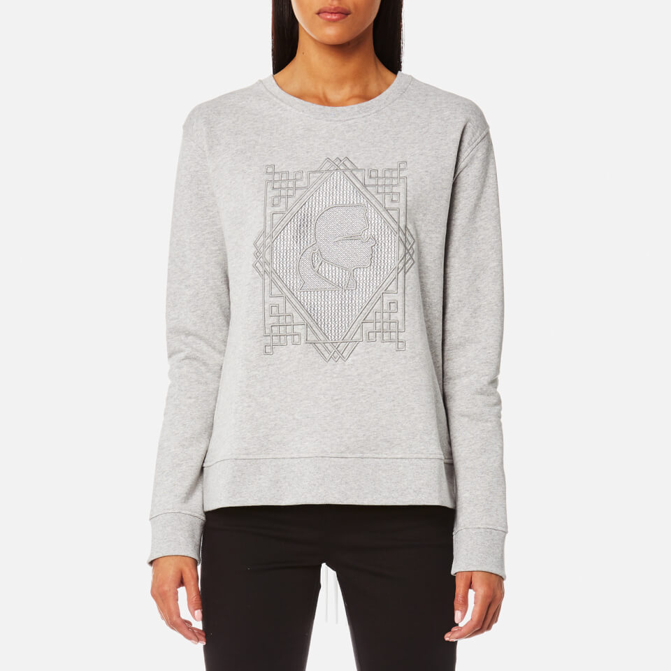 Karl Lagerfeld Womens Embroidered Pleated Back Sweatshirt Grey Xs