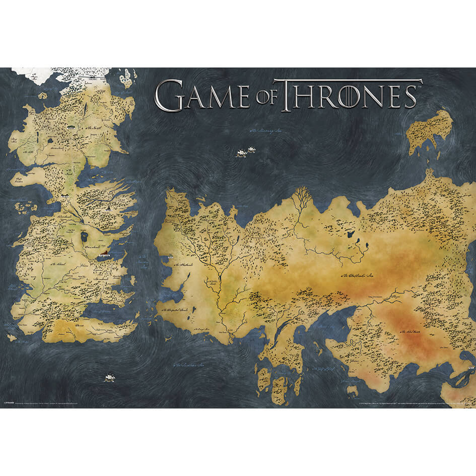 Game of Thrones Poster (Westeros And Essos Antique Map)