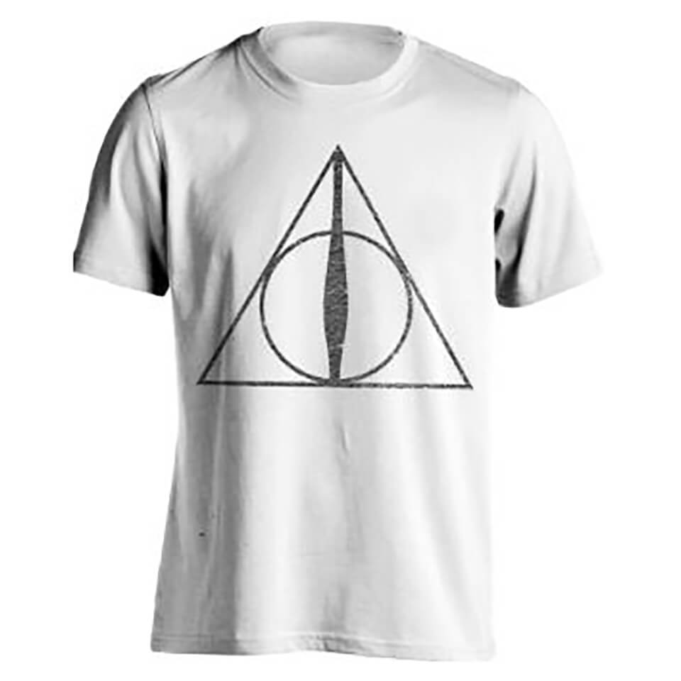 Harry Potter Men's Deathly Hallows Symbol T Shirt White XXL Weiß