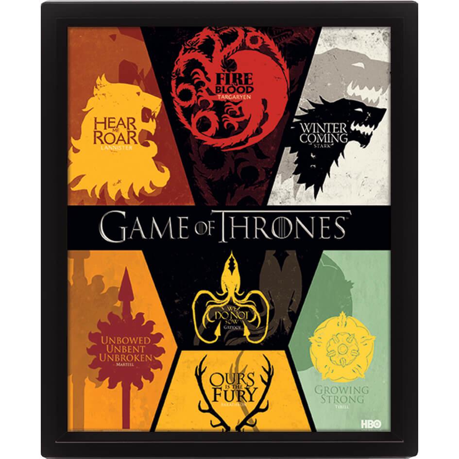 Game of Thrones Sigils 2 10 x 8 Inch 3D Lenticular Poster