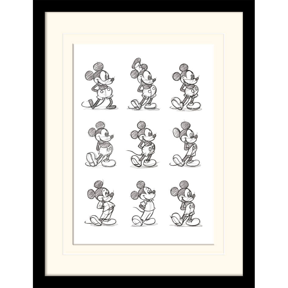 Disney Mickey Mouse Sketched Multi Mounted 30 x 40cm Print