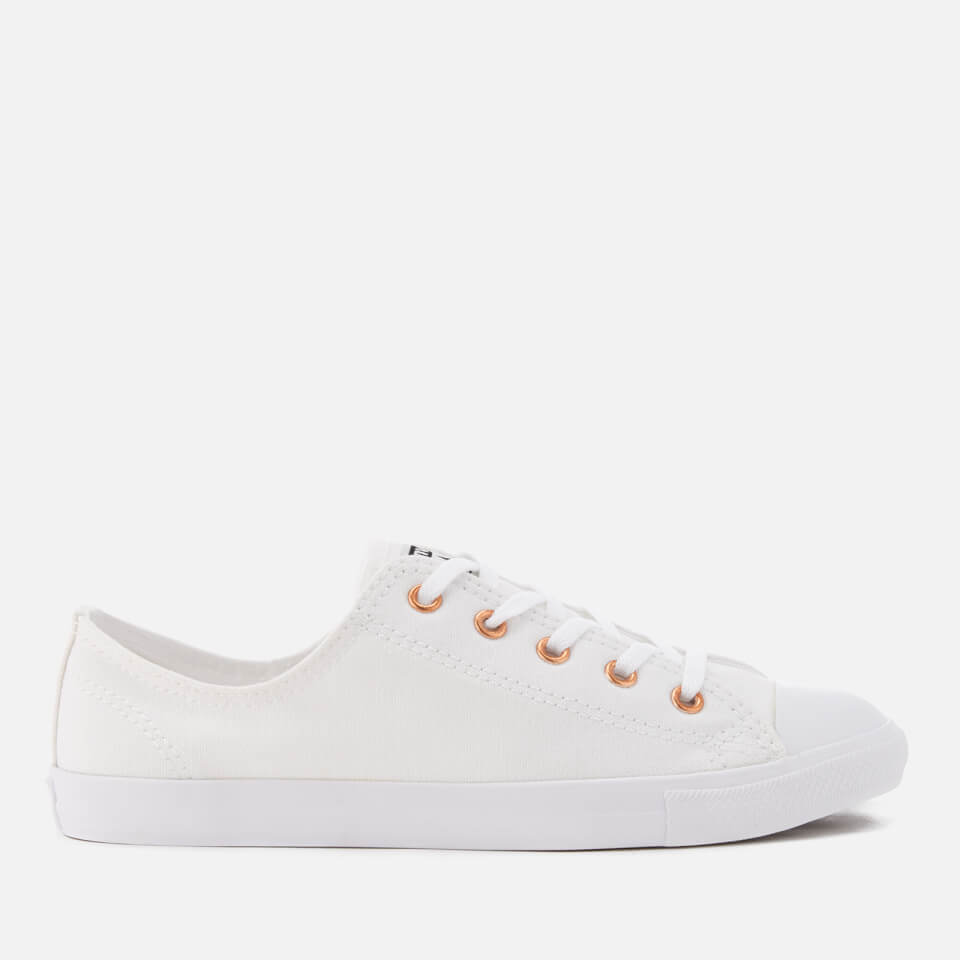 Womens Chuck Taylor All Star Dainty Sneakers in White & Rose Gold