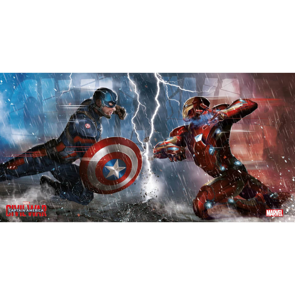 Captain America Civil War Glass Poster Duel (60 x 30cm)