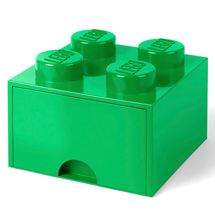 LEGO Storage 4 Knob Brick - 1 Drawer (Dark Green)