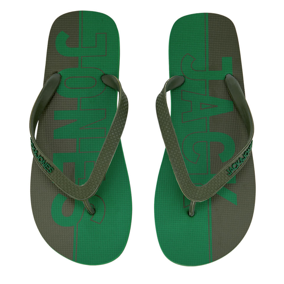 Jack & Jones Men's Logo Flip Flops - Amazon/Rifle Green - UK 10-11/EU 44-45 - Verde