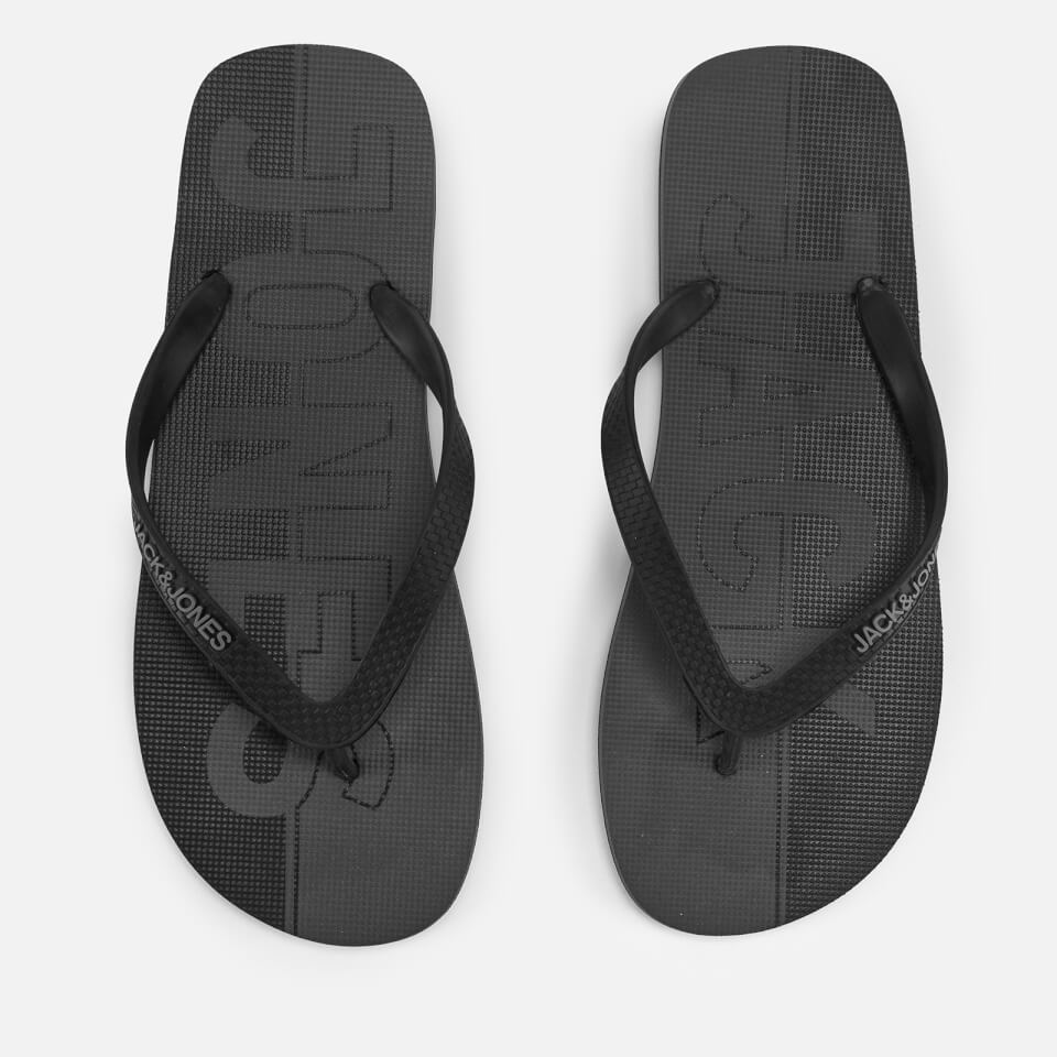 Jack & Jones Men's Logo Flip Flops - Anthracite/Castlerock - UK 10-11/EU 44-45 - Negro