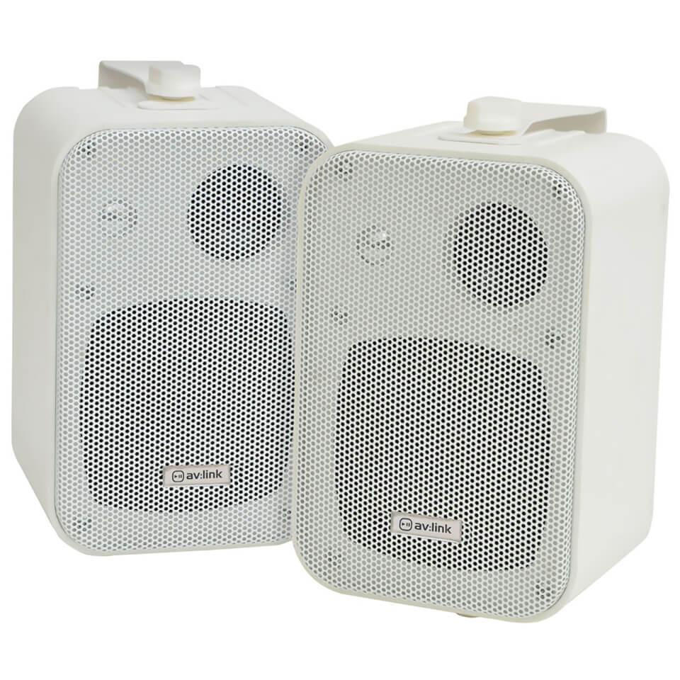 AV Link 3 Way Background 30W Stereo Speakers White