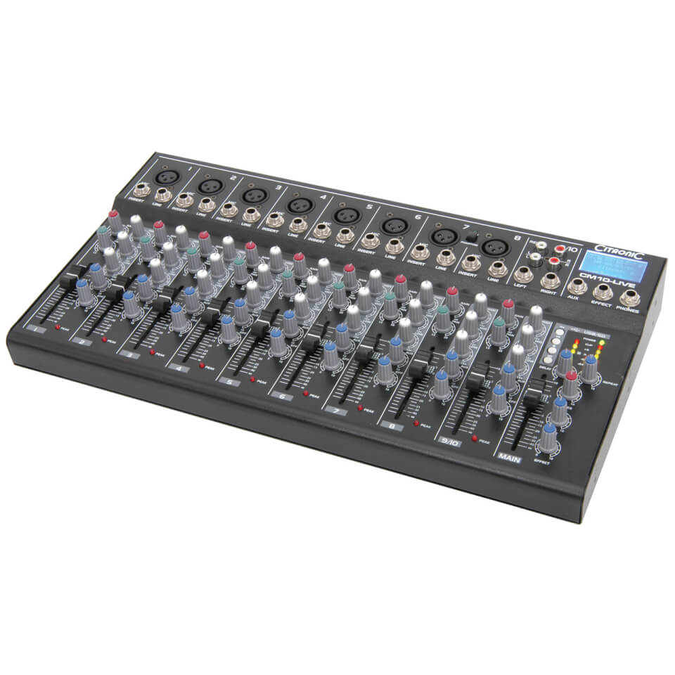 Citronic CM10 live Compact Mixers (Delay USB SD Player 10 Channel)