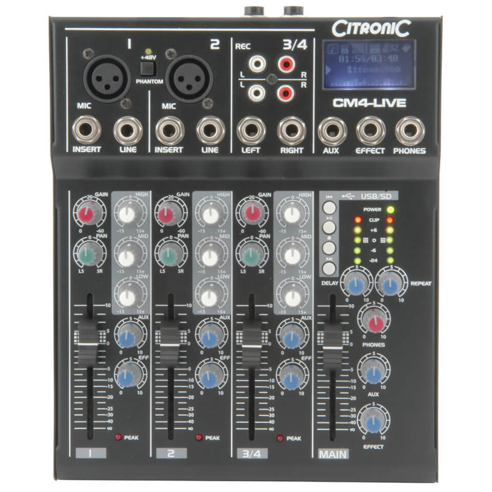 Citronic CM4 live Compact Mixer (Delay USB SD Player 4 Channel)