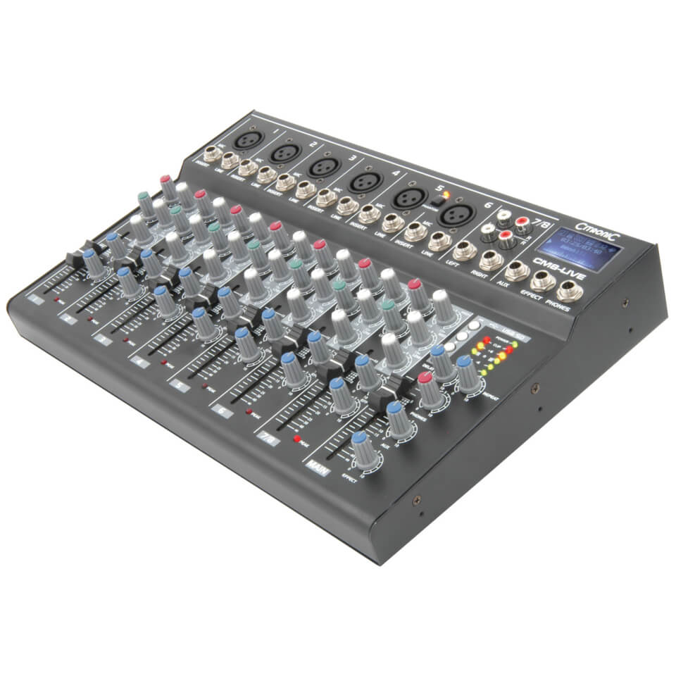Citronic CM8 live Compact Mixer (Delay USB SD Player 8 Channel)