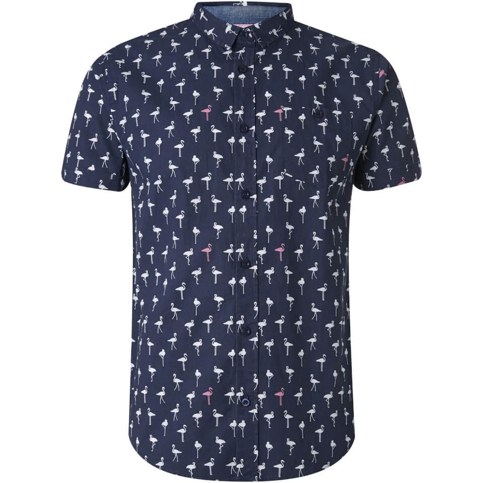 Brave Soul Men's Braun Bird Print Short Sleeve Shirt - Navy - S - azul marino