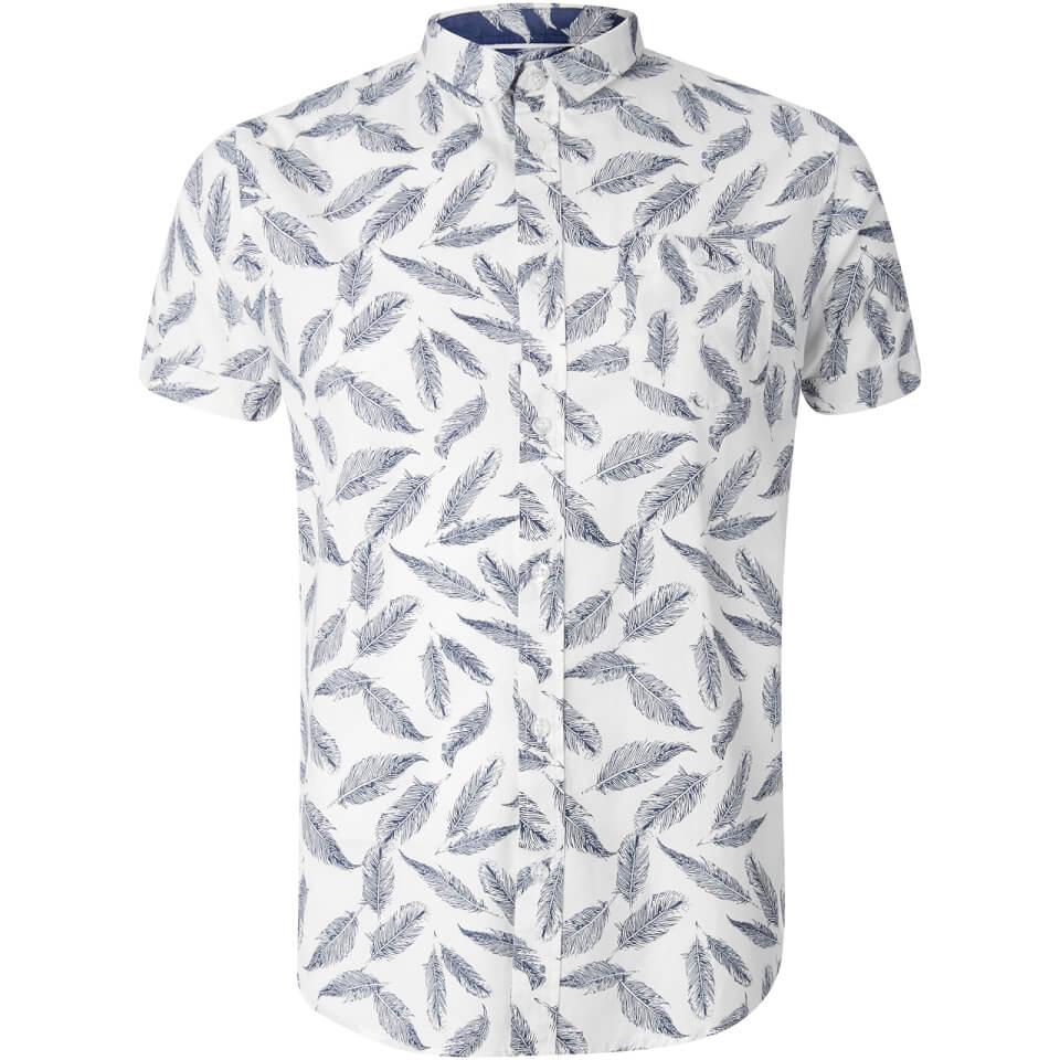Brave Soul Men's Antonio Feather Print Short Sleeve Shirt - White - L - Blanco