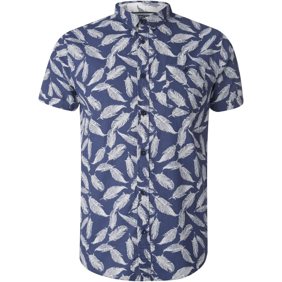 Brave Soul Men's Antonio Feather Print Short Sleeve Shirt - Navy - M - azul marino