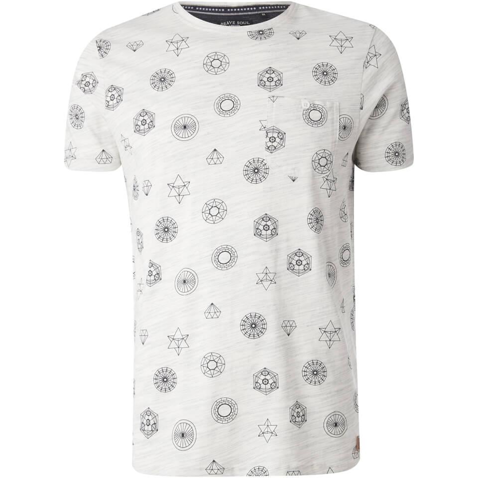 Brave Soul Men's Portal Print T-Shirt - Ecru - L - Piedra