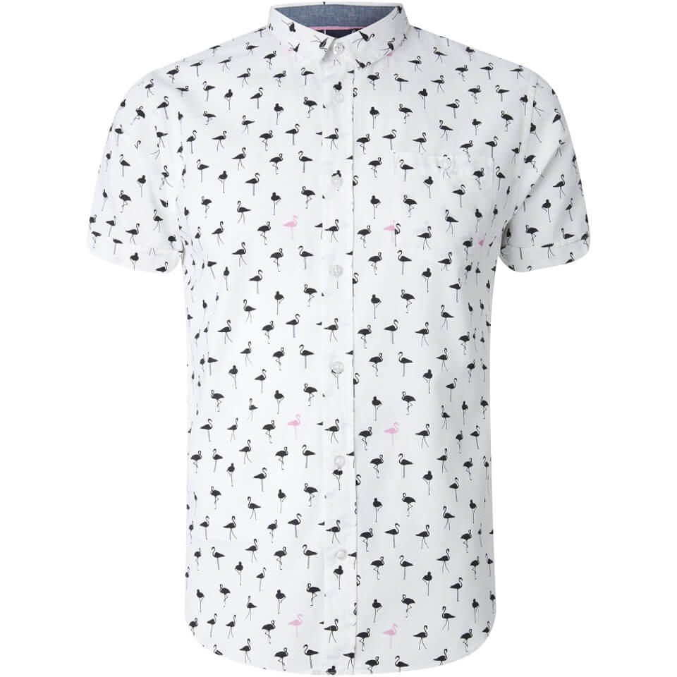 Brave Soul Men's Braun Bird Print Short Sleeve Shirt - White - L - Blanco