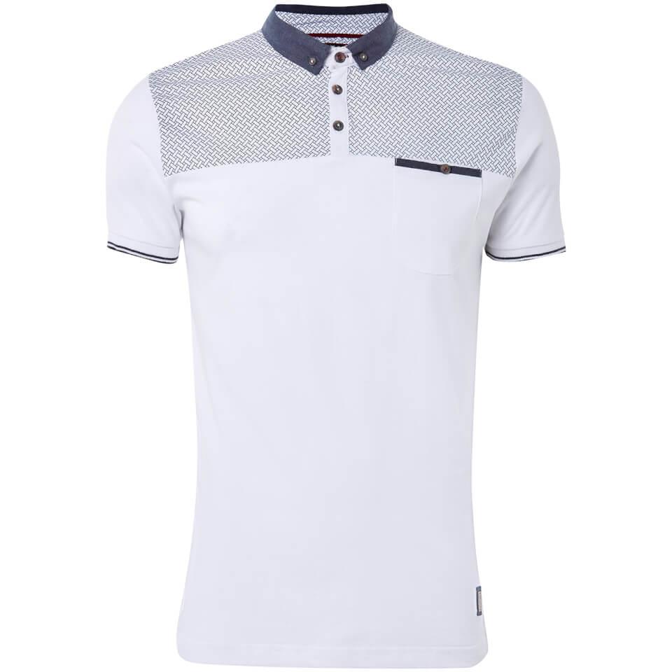 Brave Soul Men's Aqua Polo Shirt - White - L - Blanco