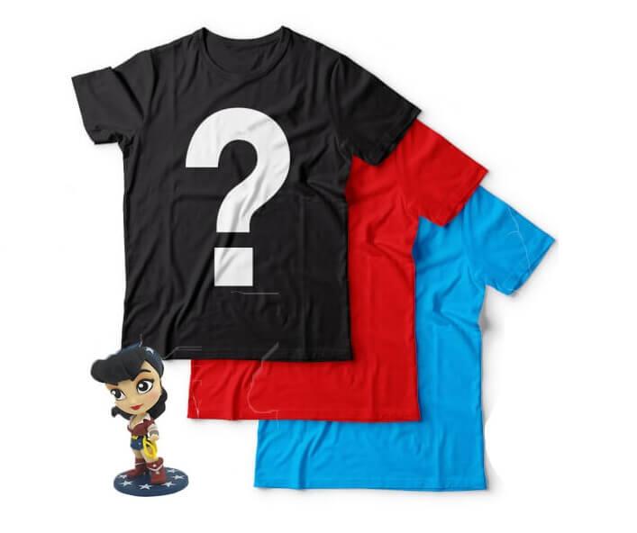 Epic Mystery Geek T-Shirts 3 Pack + Free Wonder Woman Figurine - L