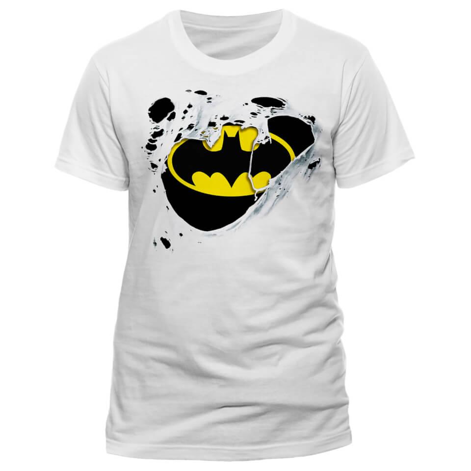 DC Comics Batman Torn Logo Männer T Shirt Weiß M Weiß