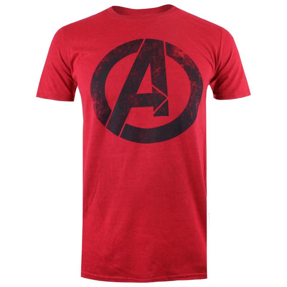 Marvel Men's Avengers Distressed Logo T Shirt Heather Red XXL Rot