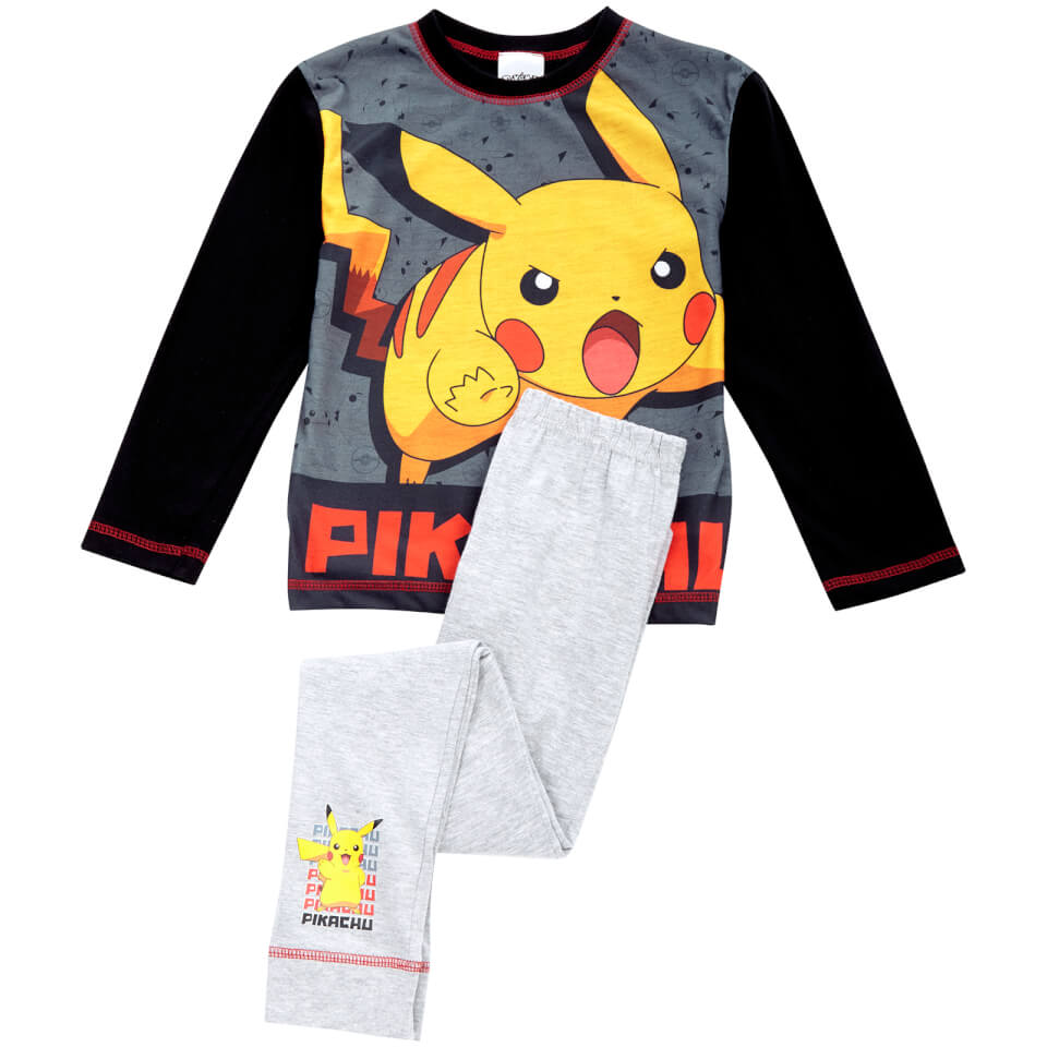 Pokemon Boys' Pikachu Pyjamas Black 11 12 Years Schwarz