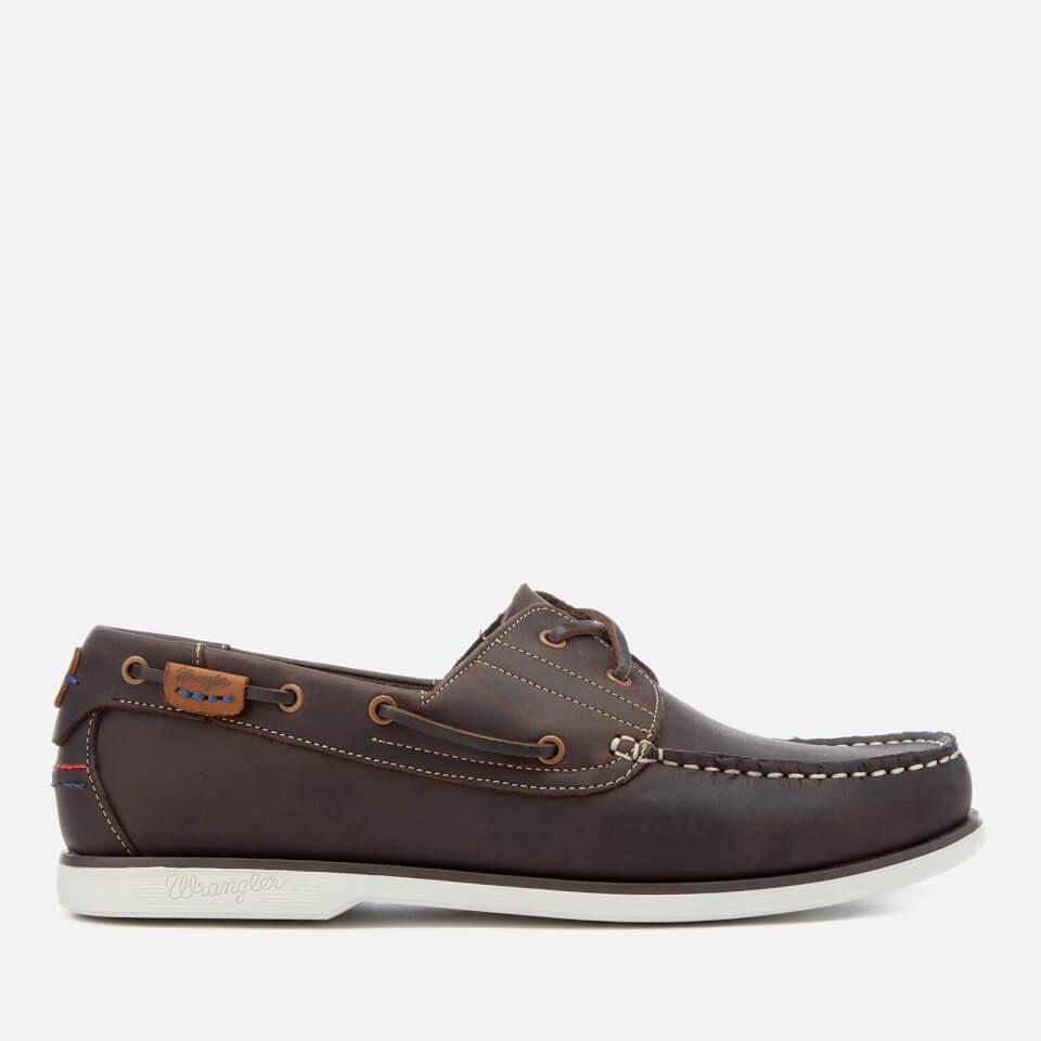 Wrangler Men's Ocean Leather Boat Shoes - Dark Brown - UK 6 - Brown