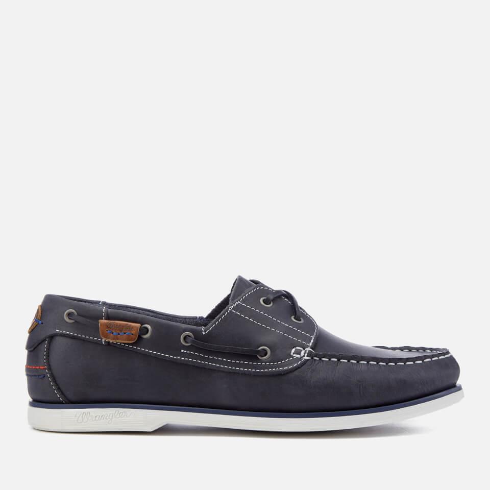 Wrangler Men's Ocean Leather Boat Shoes - Navy - UK 6 - Azul