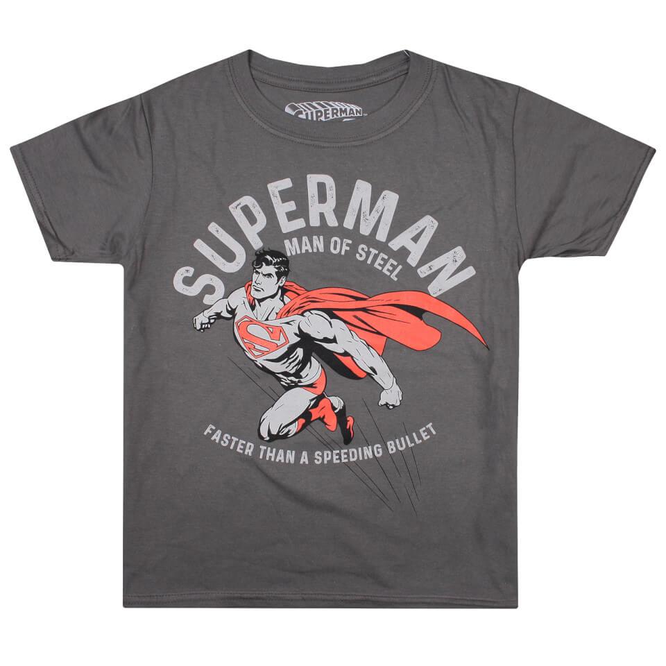 DC Comics Boys' Faster T Shirt Charcoal Age 11 12 Grau