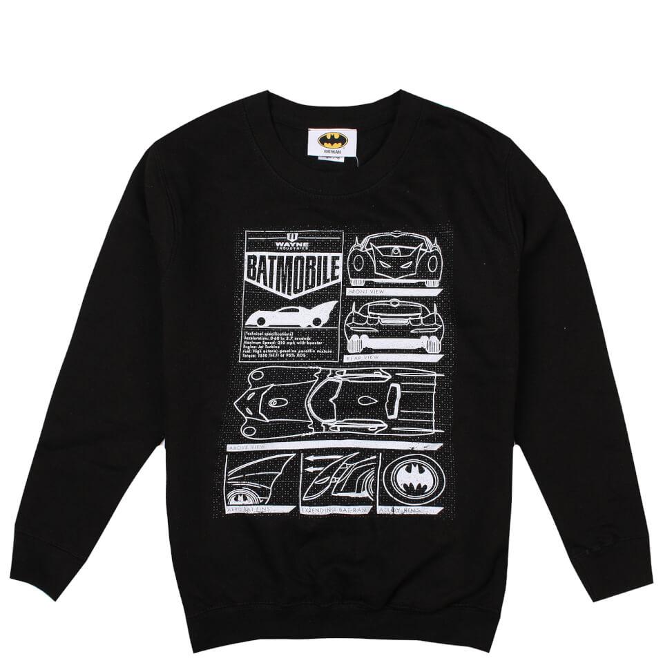 DC Comics Boys' Batmobile Schematics Sweatshirt Black Age 11 12 Schwarz