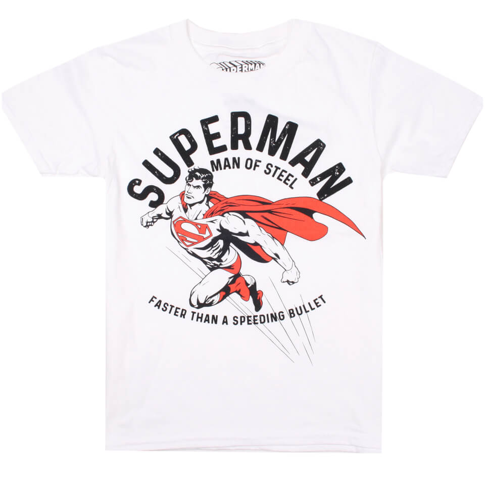 DC Comics Boys' Faster T Shirt White Age 11 12 Weiß