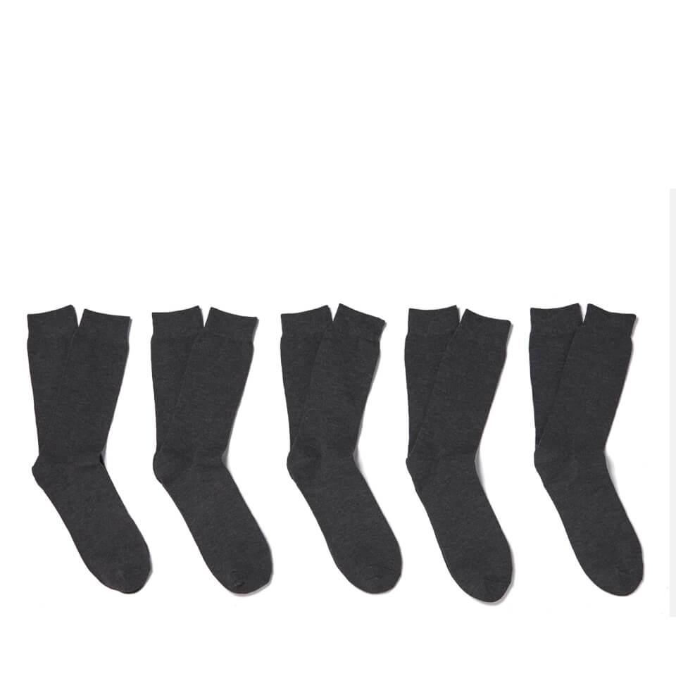 Pack de 5 calcetines Brave Soul Bob - Hombre - Gris (40-46)