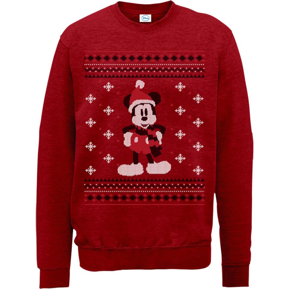 Disney Mickey Mouse mit Schal Weihnachtspullover Rot XL Rot