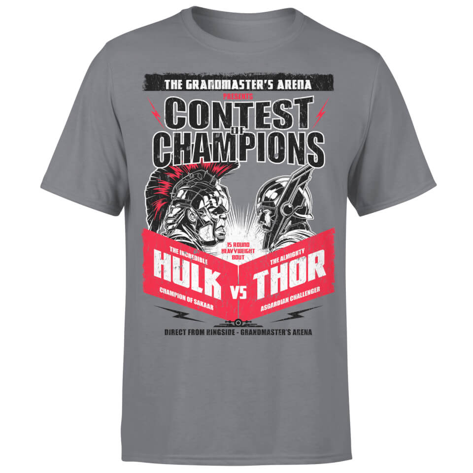 Marvel Contest Of Champions Hulk Vs Thor T Shirt Charcoal XXL Charcoal