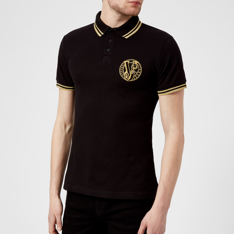 Versace Jeans Men S Round Logo Polo Shirt Black Clothing
