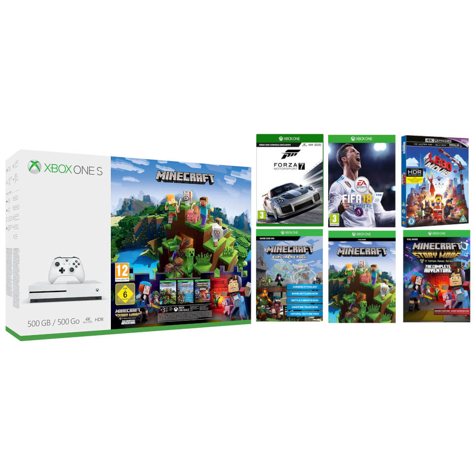 Xbox One S 500gb With Minecraft Complete Adventure Forza