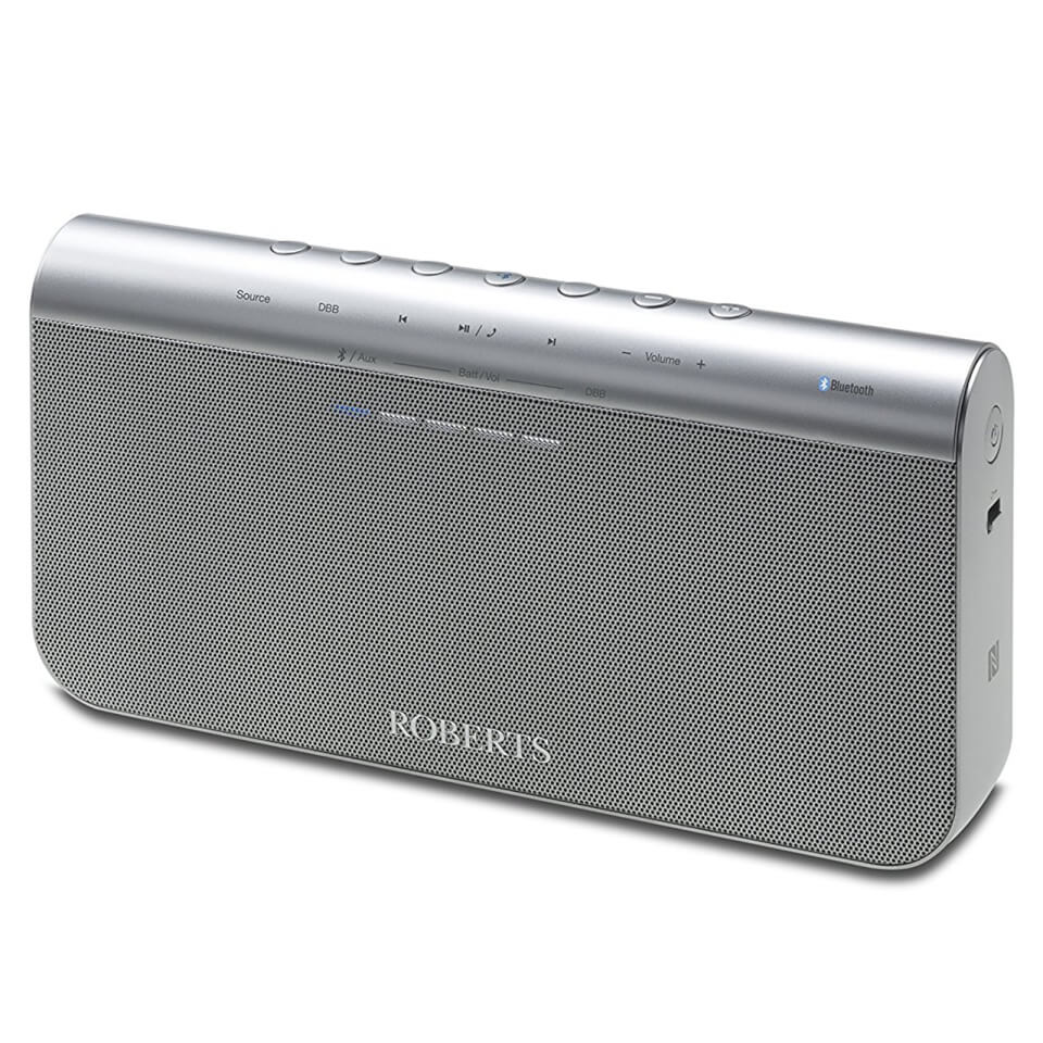 Roberts Radio BluPad Portable Bluetooth Speaker with Leather Carry Case Silver