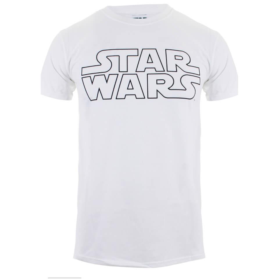 Star Wars Men's Basic Logo T Shirt White XXL Weiß