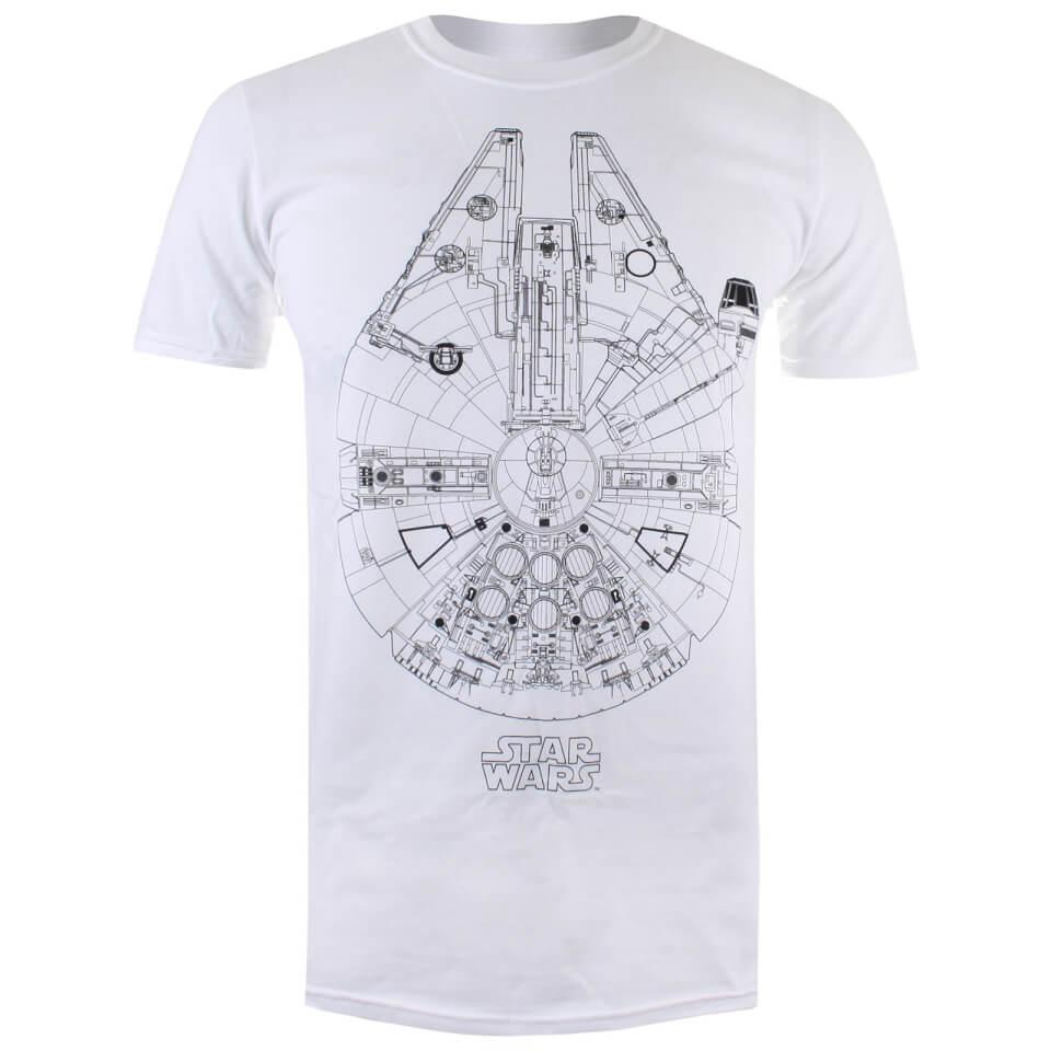 Star Wars Men's Millenium Lines T Shirt White XL Weiß