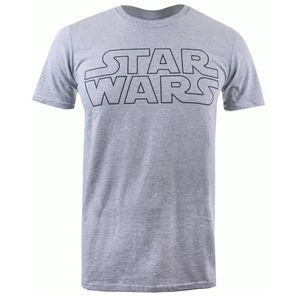 Star Wars Men's Basic Logo T Shirt Grey Marl L Grau