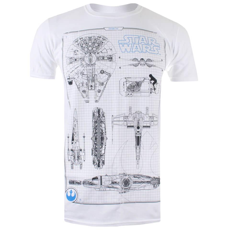 Star Wars Men's Rebel Schematics T Shirt White XXL Weiß